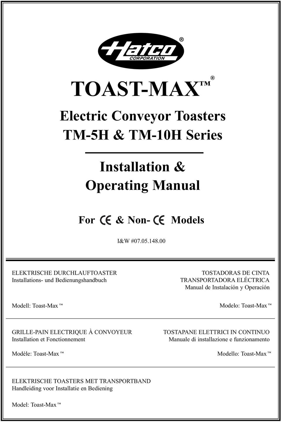 Toast Max Electric Conveyor Toasters Tm 5h 10h Series Toaster Wiring Schematic Modell Modelo Grille Pin Electrique Convoyeur