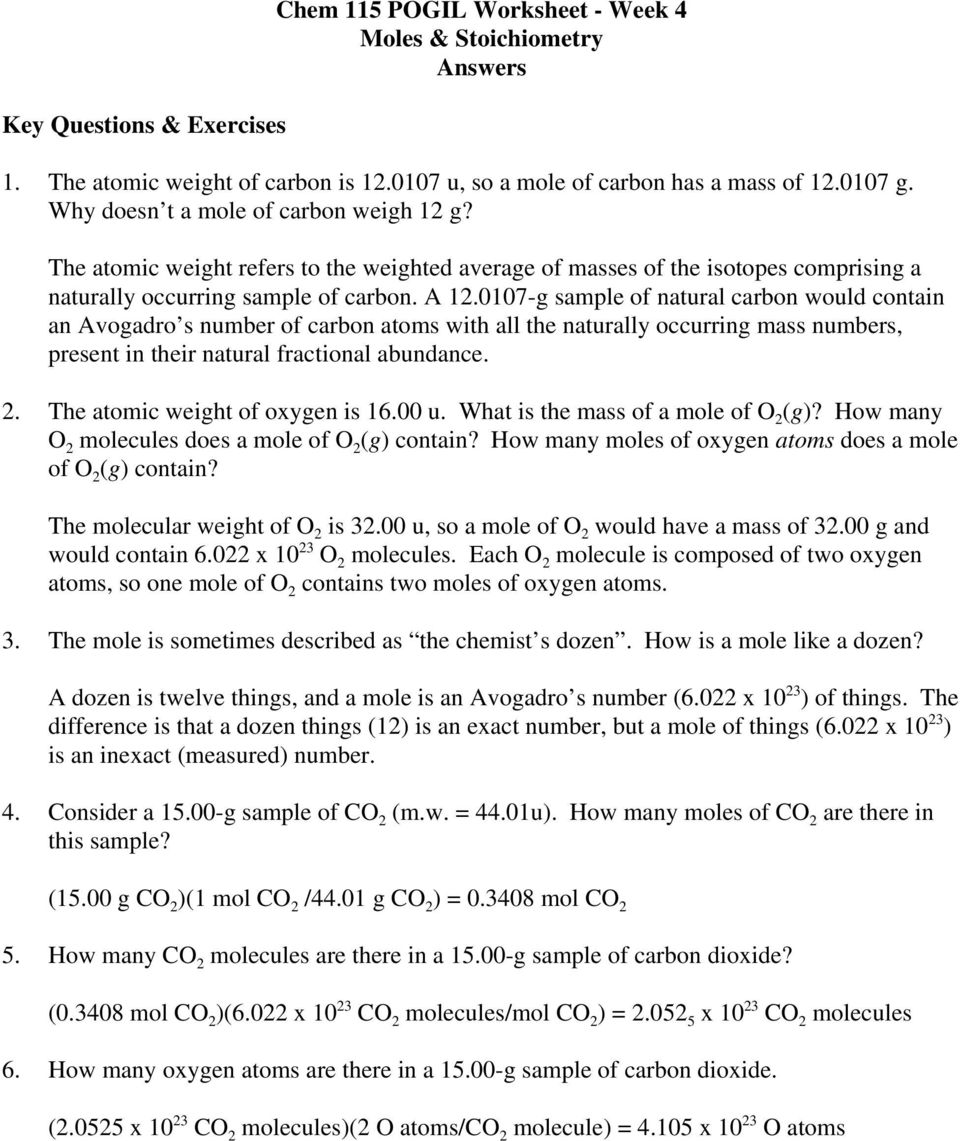 Chem 115 POGIL Worksheet - Week 4 Moles & Stoichiometry Answers - PDF