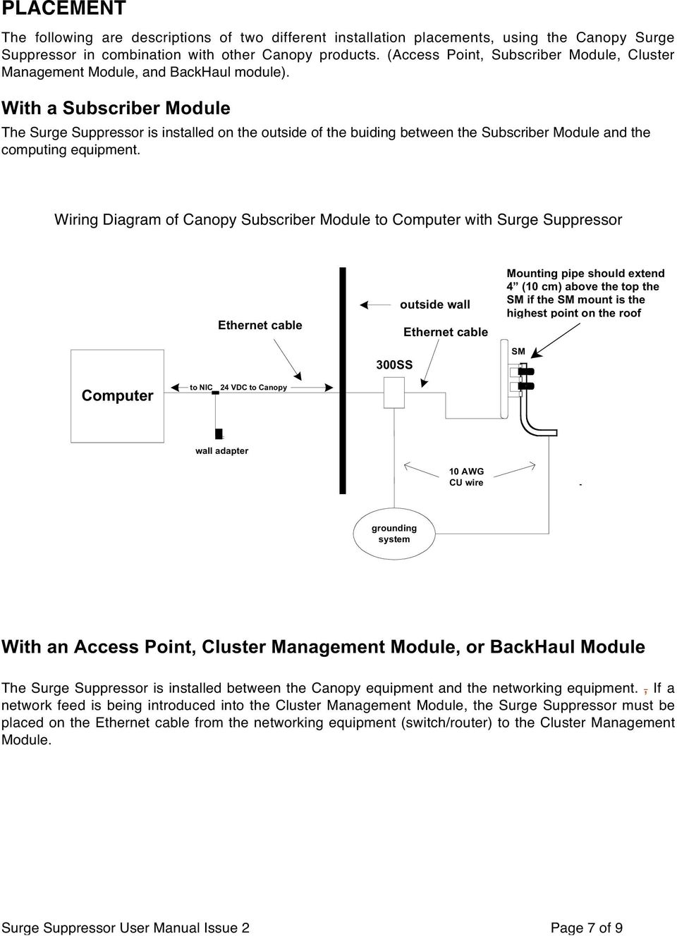 Canopy Surge User Manual Pdf Merco Wiring Diagrams With A Subscriber Module The Suppressor Is Installed On Outside Of Buiding Between