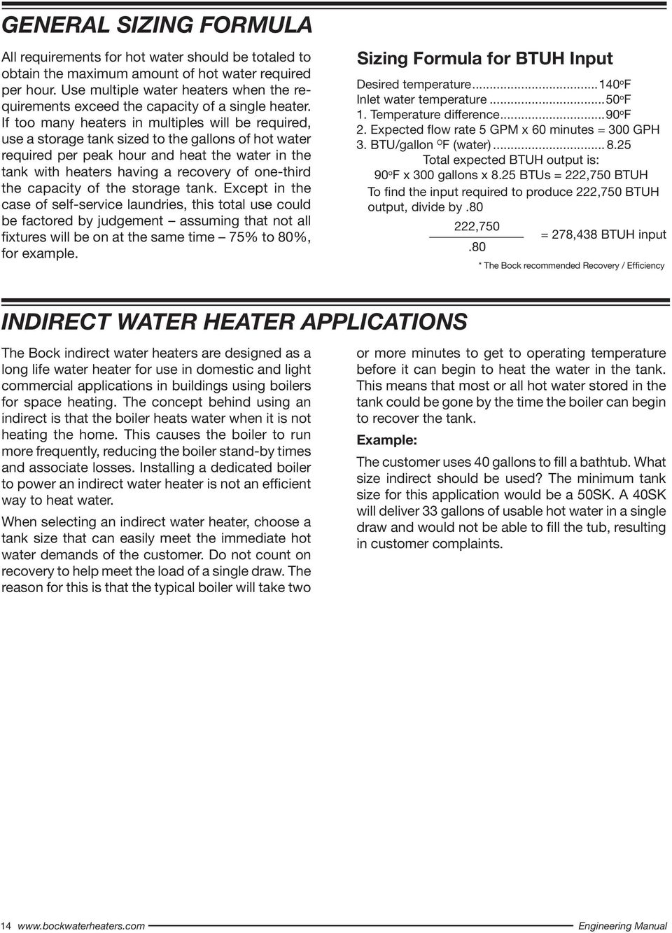 GENERAL SIZING FORMULA INDIRECT WATER HEATER APPLICATIONS  Sizing