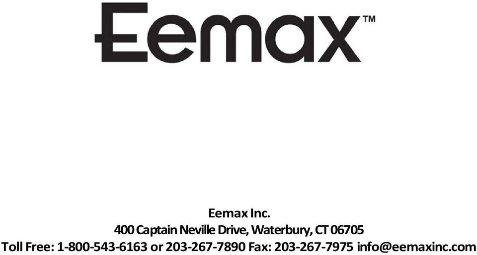 INSTALLATION INSTRUCTIONS & HOME OWNERS MANUAL EEMAX ... on