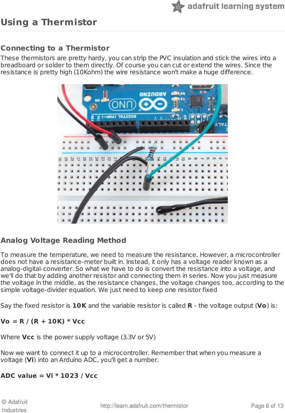 Thermistor Created By Ladyada Last Updated On 3046 Pm Edt Pdf Thermistors Wiring In Parallel Analog Voltage Reading Method To Measure The Temperature We Need Resistance