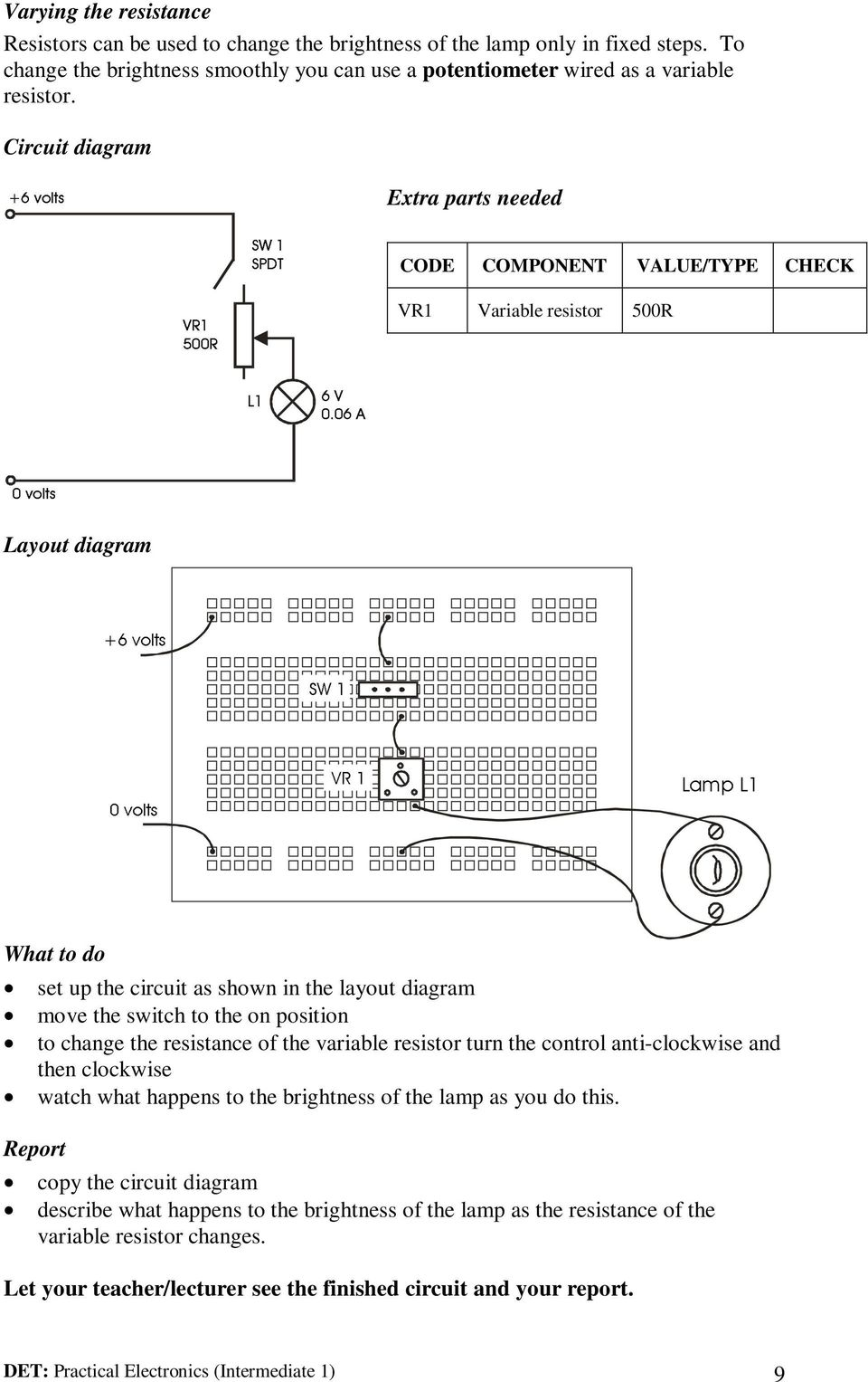 Det Practical Electronics Intermediate 1 Pdf Variable Resistor Diagram Move The Switch To On Position Change Resistance Of Turn