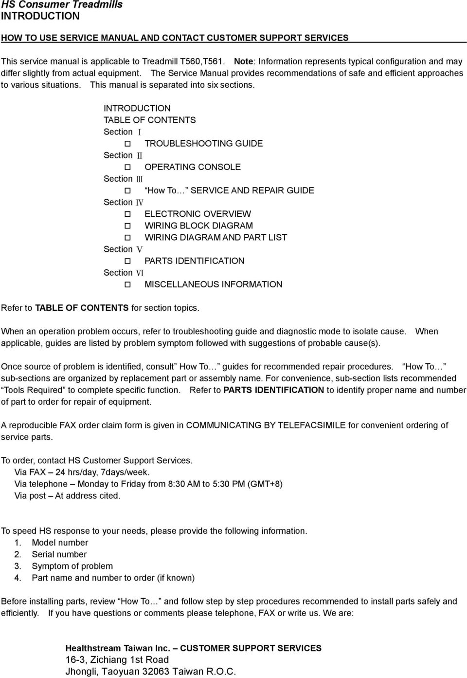 TREADMILL SERVICE MANUAL T560/T561. Customer Support Services ... on