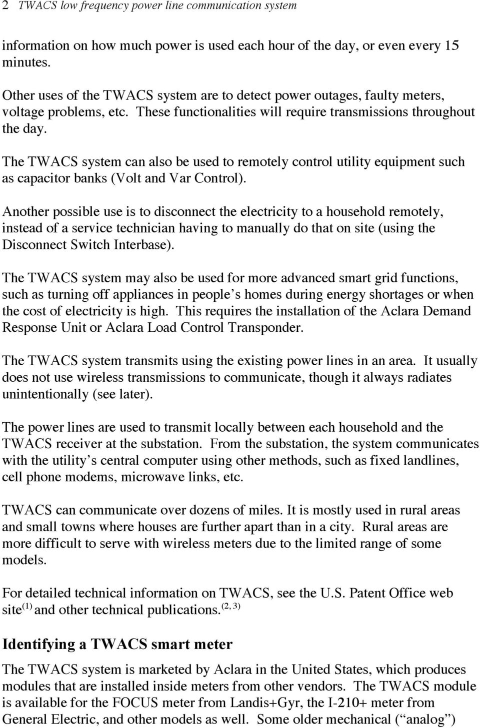 TWACS smart meters problematic to public health and safety - PDF