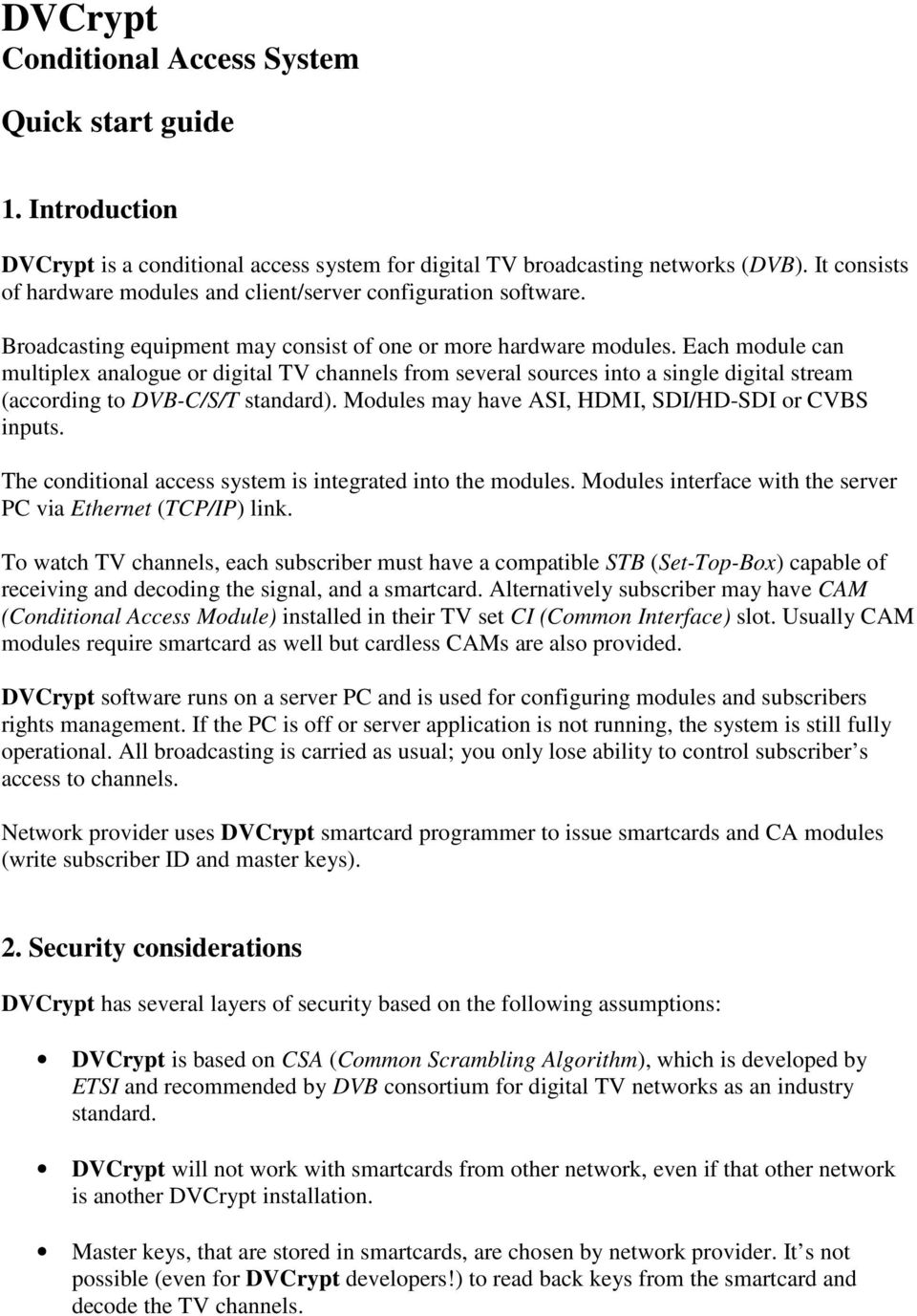 DVCrypt Conditional Access System - PDF
