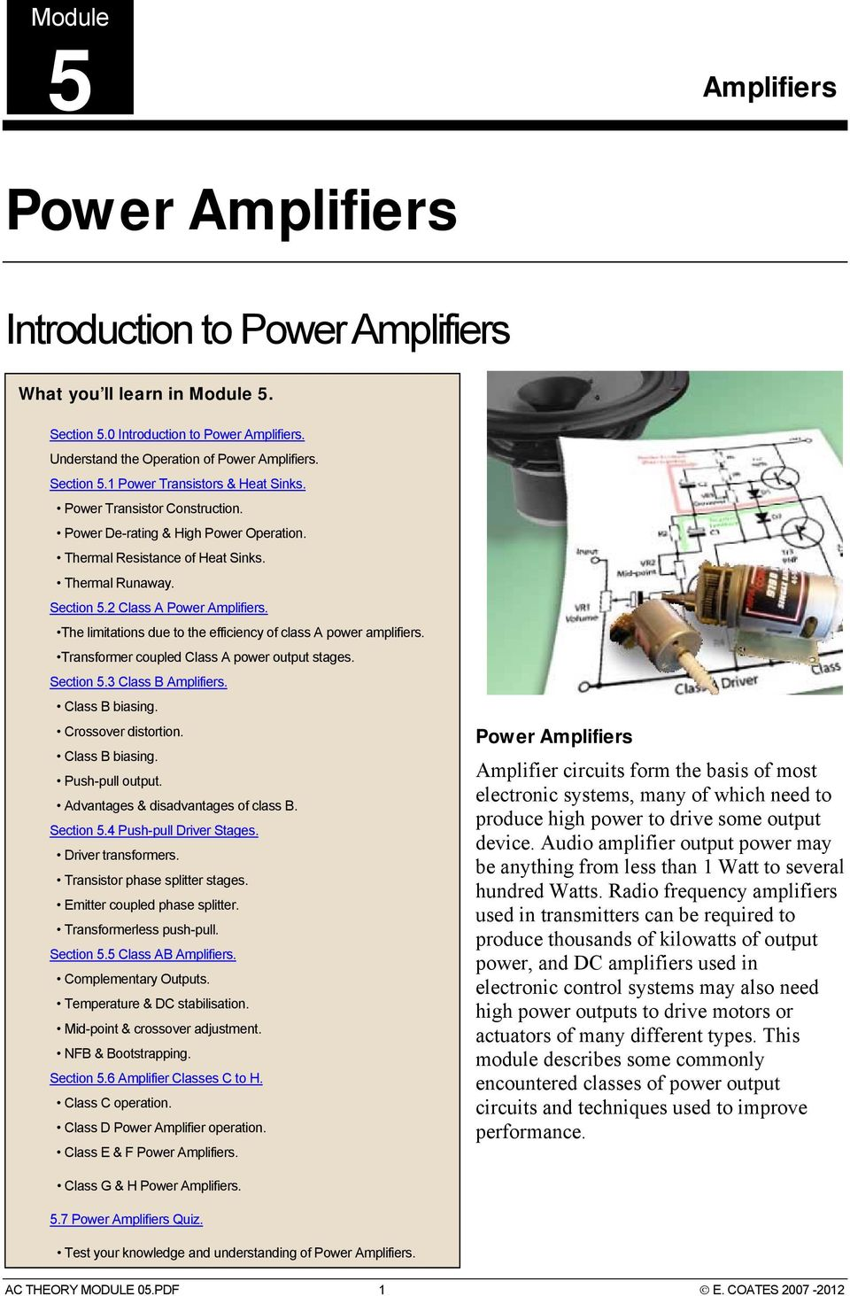Power Amplifiers  Introduction to Power Amplifiers