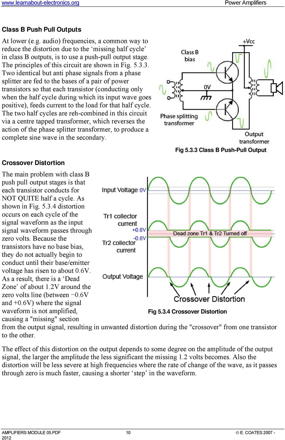 Power Amplifiers Introduction To Discrete Class Ab Transistor Audio Amplifier Circuit Diagram 3 Two Identical But Anti Phase Signals From A Splitter Are Fed The