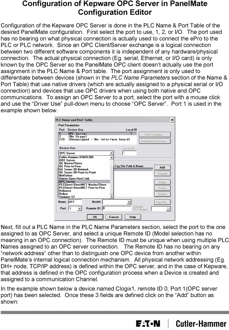 Configuration of Kepware OPC Server in PanelMate Configuration