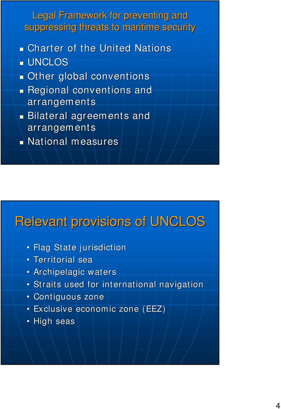 arrangements National measures Relevant provisions of UNCLOS Flag State jurisdiction Territorial sea