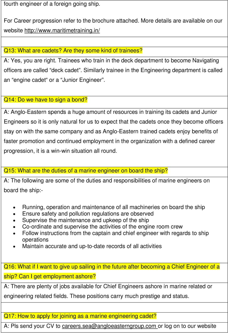 FAQ's for Joining as a Marine Engineer - PDF