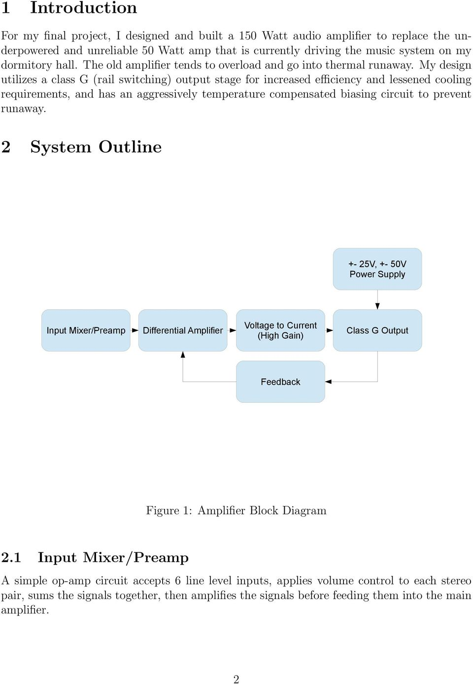 6101 Final Project Report Class G Audio Amplifier Pdf Block Diagram My Design Utilizes A Rail Switching Output Stage For Increased Efficiency And