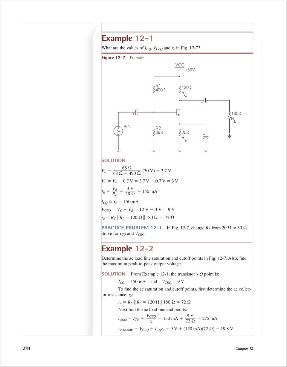 In A Stereo Radio Or Television The Input Signal Is Small After 32w Hifi Audio Amplifier With Tda2050 Circuit Diagram Example 12 2 Determine Ac Load Line Saturation And Cutoff Points Fig