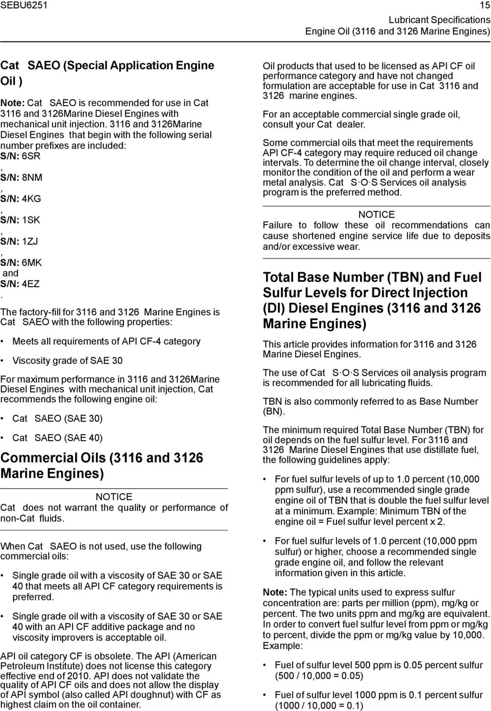 Cat Commercial Diesel Engine Fluids Recommendations Pdf 3600 Gas Diagram 3116 And 3126marine Engines That Begin With The Following Serial Number Prefixes Are Included