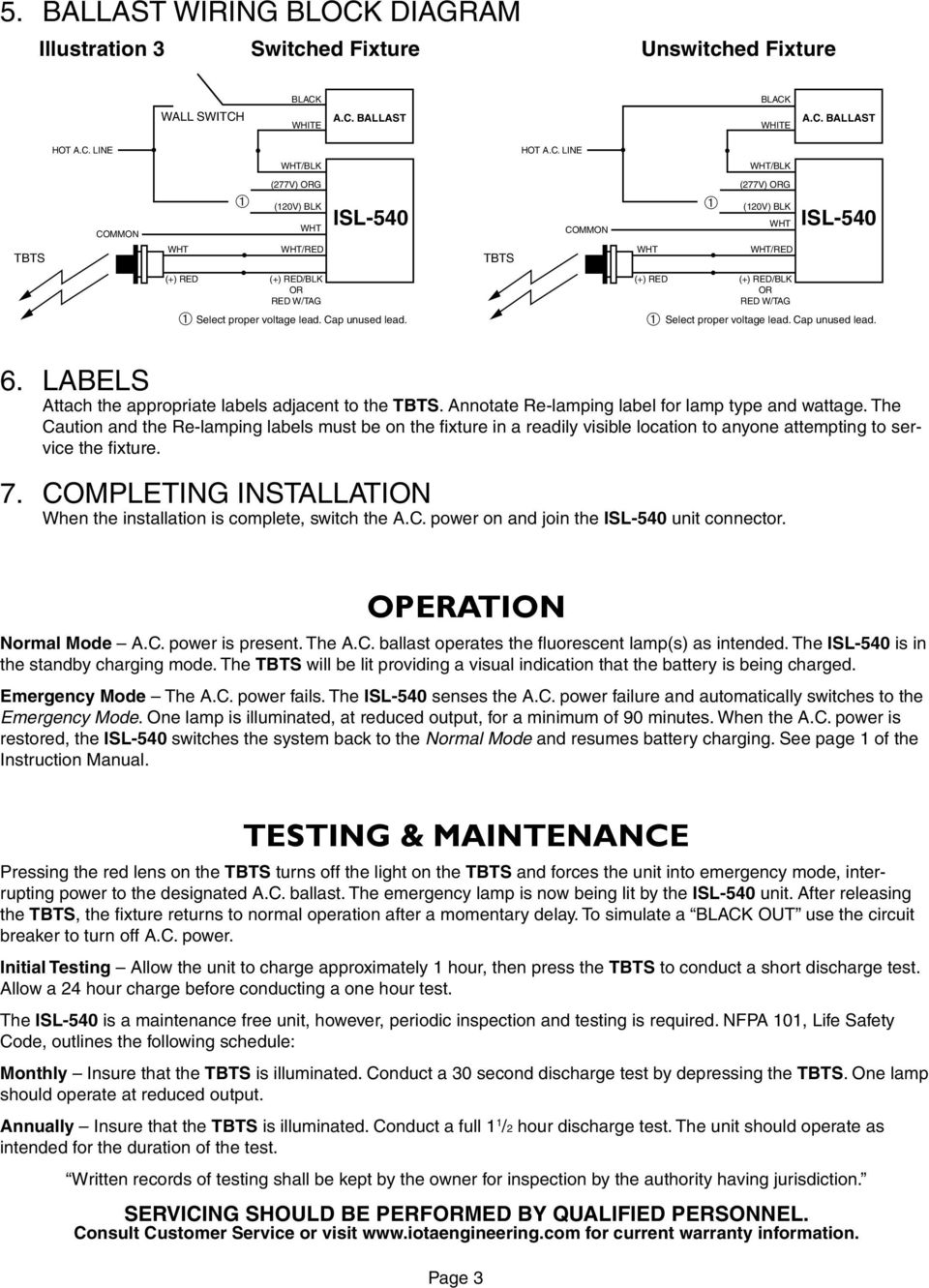 Isl 540 Tbts Series D Emergency Lighting Equipment Pdf Wiring Diagram The Caution And Re Lamping Labels Must Be On Fixture In A Readily 4 Typical Diagrams