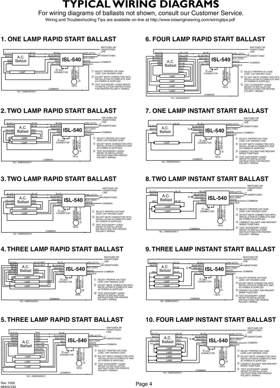 TWO RAPID START * 1LRSB / / DO NOT MATE UNTIL / CHARGE / OR /. 5 TYPICAL WIRING  DIAGRAMS ...