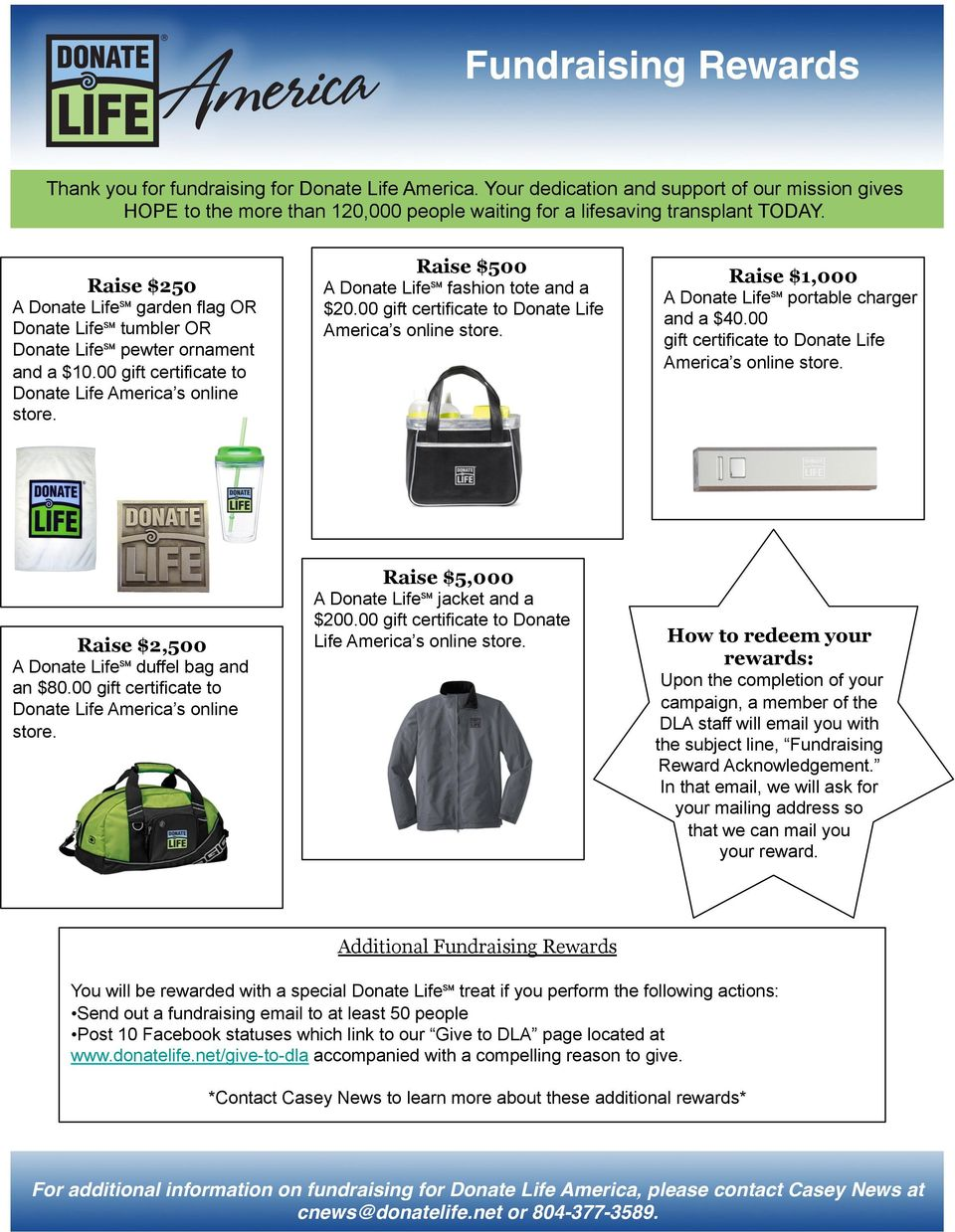 A Donate Life fashion tote and a $20.00 gift certificate to Donate Life America s online store. Raise $1,000 A Donate Life portable charger and a $40.