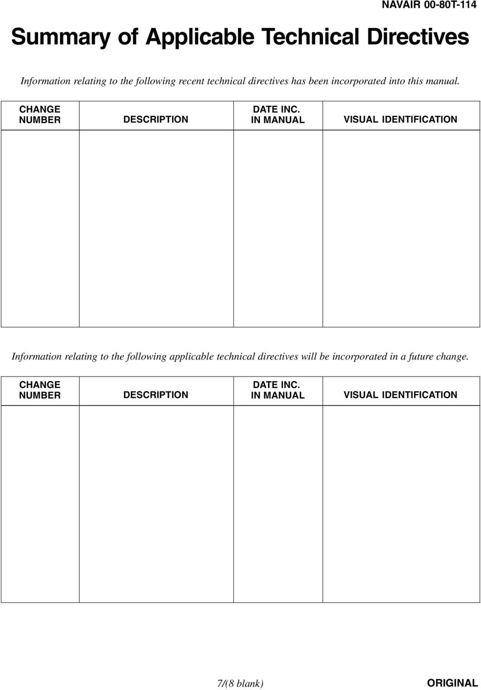 IN MANUAL VISUAL IDENTIFICATION Information Relating To The Following Applicable Technical Directives