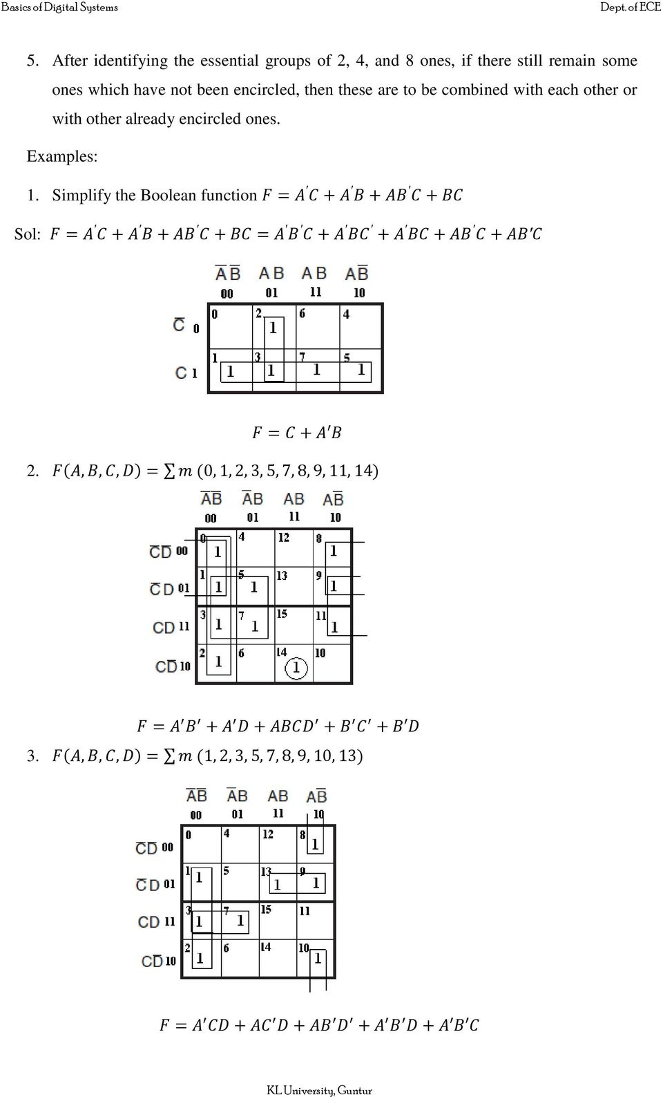Boolean Algebra Logic Gates Pdf The Simplified Functions For Two Oututs Of Full Simplify Function Sol 2 3 These Are To Be Combined With Each Other Or Already