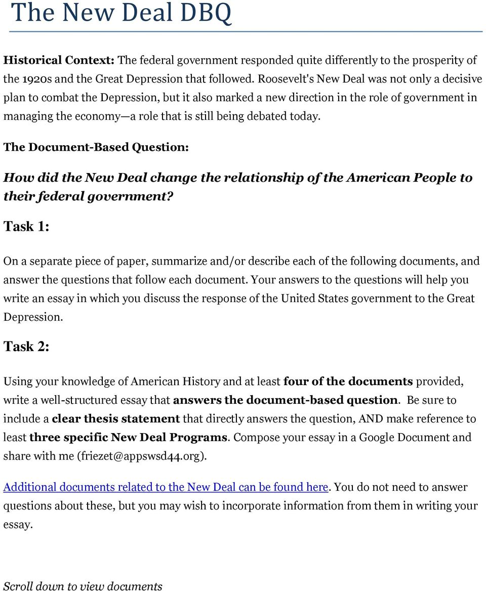 High School Application Essay Examples The Documentbased Question How Did The New Deal Change The Relationship High School Persuasive Essay also Essay On Health Promotion How Did The New Deal Change The Relationship Of The American People  How To Start A Science Essay