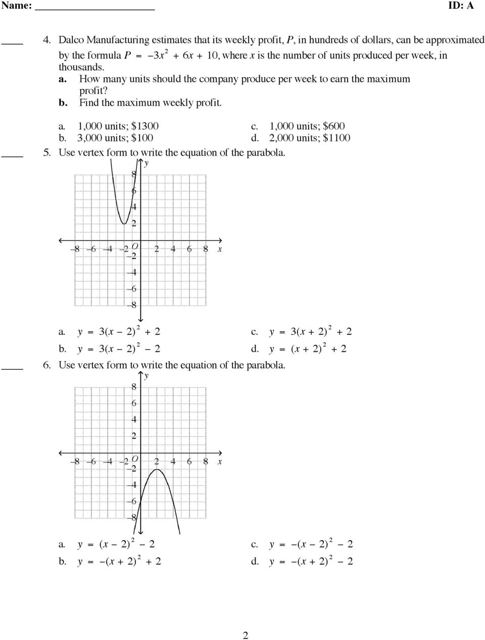 Algebra 2 Chapter 5 Practice Test (Review) - PDF