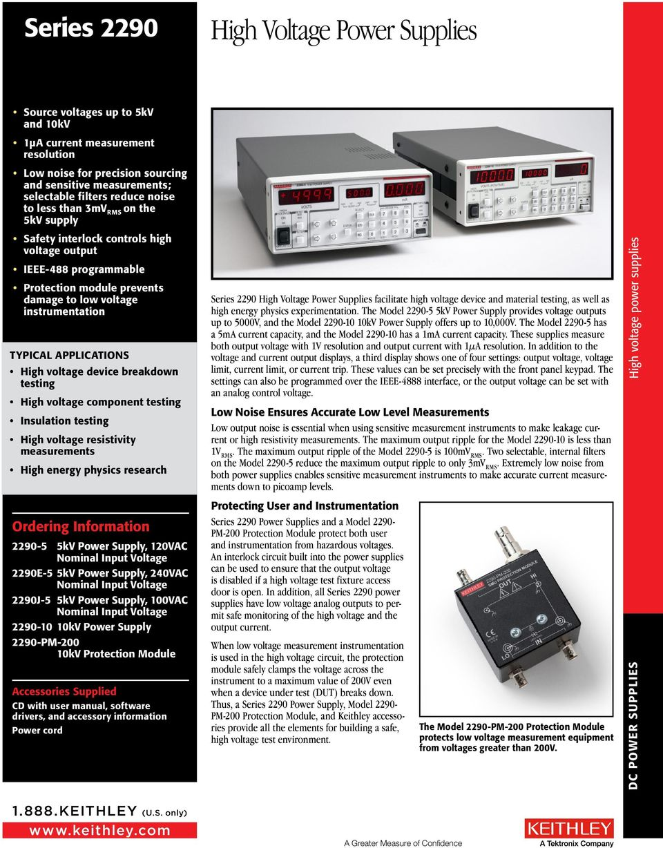 High Voltage Power Supplies Pdf Supply Applications Device Breakdown Testing Component Insulation Resistivity Measurements
