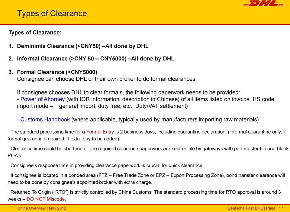 DHL Express in China Overview and China Customs regulations