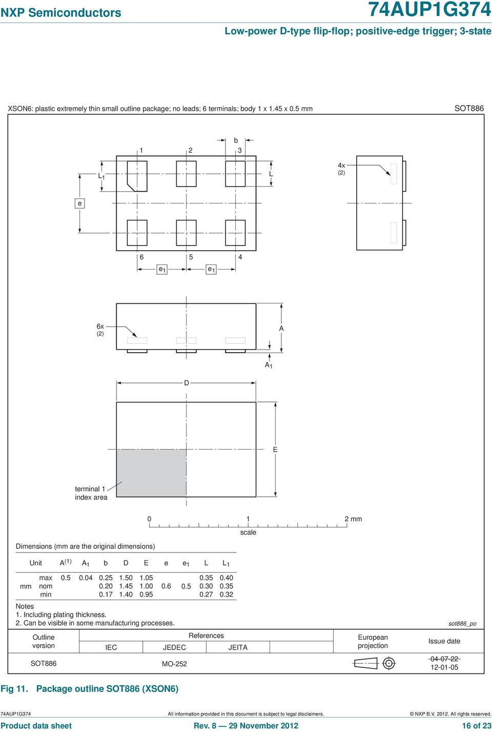 Outline version SOT886 0.5 0.04 0.25 1.50 0.20 1.45 0.17 1.40 1.05 1.00 0.95 0.6 Notes 1. Including plating thickness. 2. Can be visible in some manufacturing processes. 0.5 References IEC JEDEC JEITA MO-252 0.