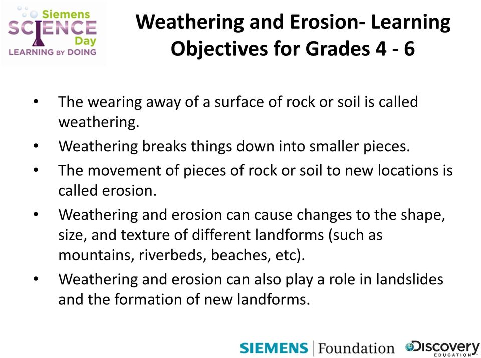 The movement of pieces of rock or soil to new locations is called erosion.