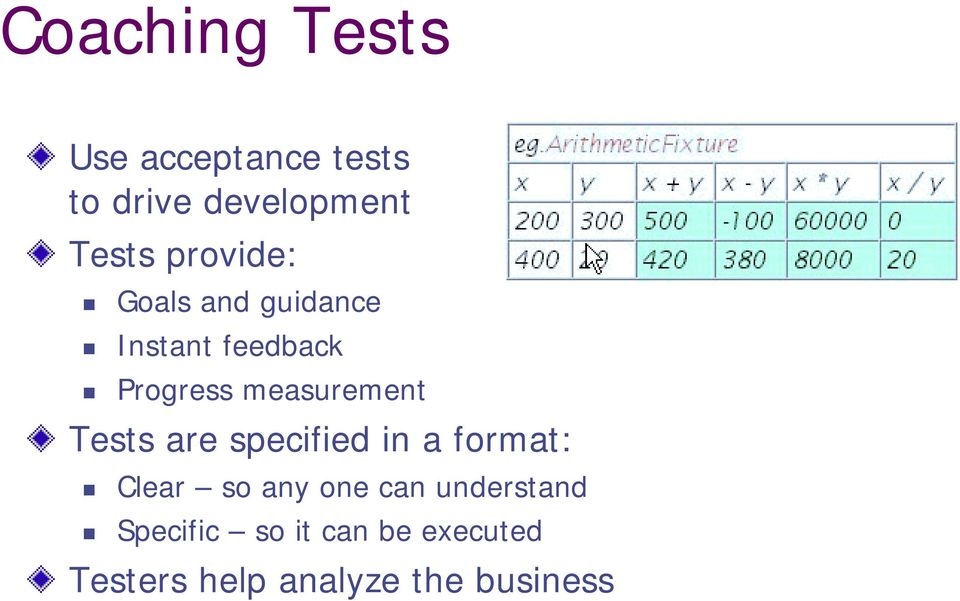 Progress measurement Tests are specified in a format:!