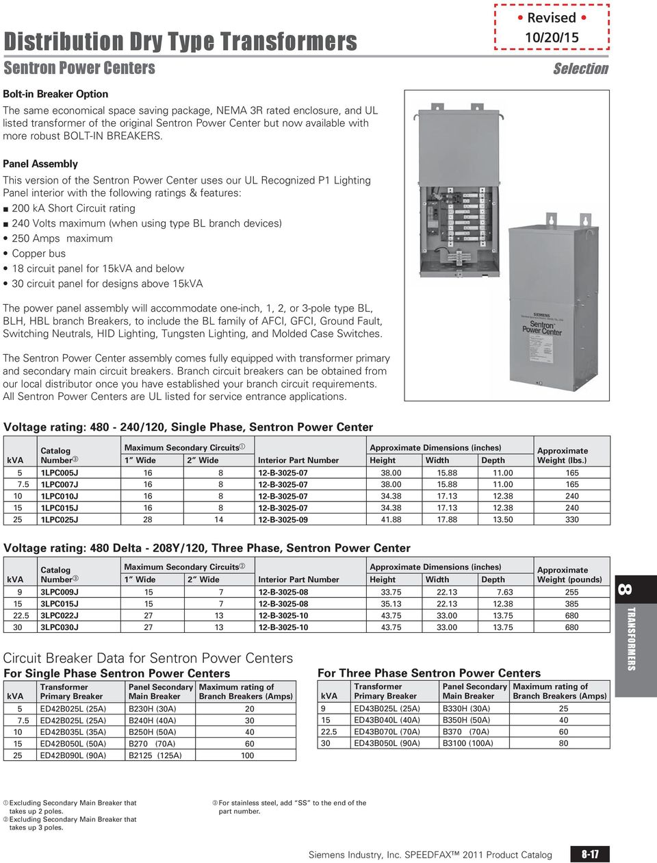 Distribution Dry Type Transformers Pdf Wac Transformer Wiring Diagrams Panel Assembly This Version Of The Sentron Power Center Uses Our Ul Recognized P1 Lighting