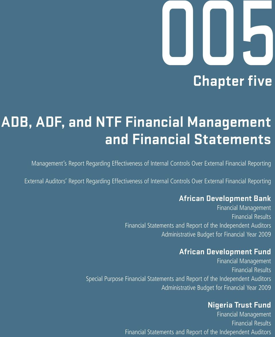 Chapter five  ADB, ADF, and NTF Financial Management and Financial