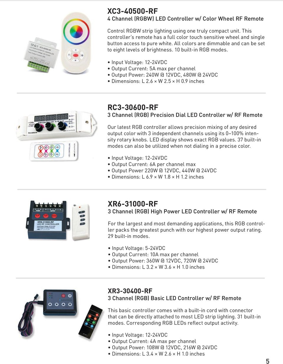 Product Catalog Pdf Home Led Dimmers Dimmer 3 Circuits Rgb 3a Max Output Current 5a Per Channel Power 240w 12vdc 480w 6 Xr Rf