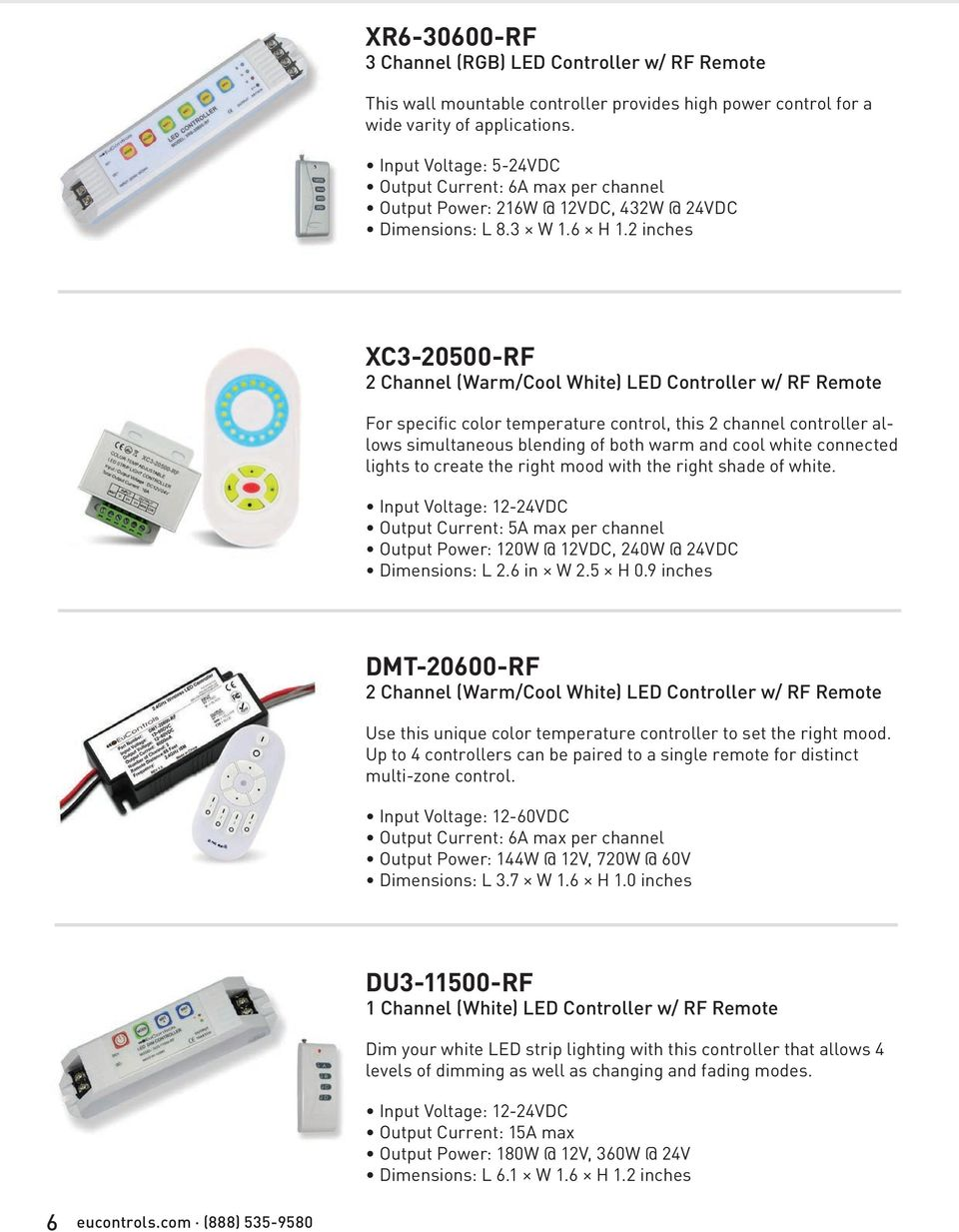 Product Catalog Pdf Home Led Dimmers Dimmer 3 Circuits Rgb 3a Max 2 Inches Xc3 20500 Rf Channel Warm Cool White 7 0 10v Dimming