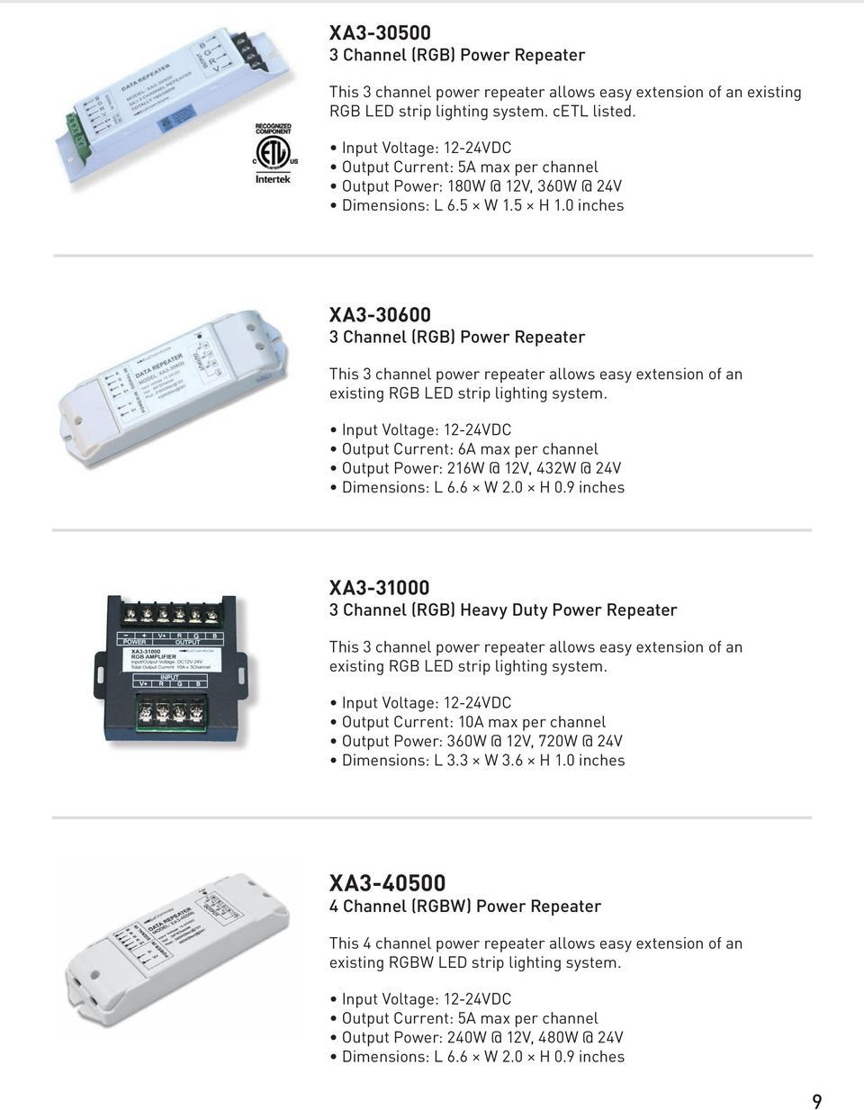 Product Catalog Pdf Home Led Dimmers Dimmer 3 Circuits Rgb 3a Max 0 Inches Xa3 30600 Channel Power Repeater This