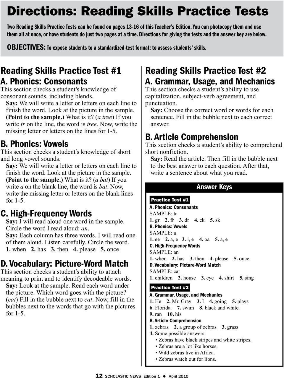 - Directions: Reading Skills Practice Tests - PDF Free Download