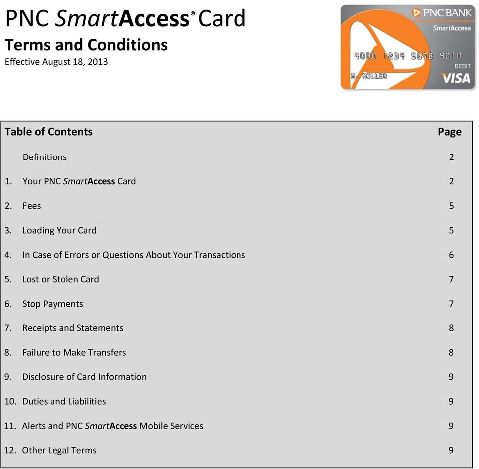 PNC SmartAccess Card Terms and Conditions Effective August
