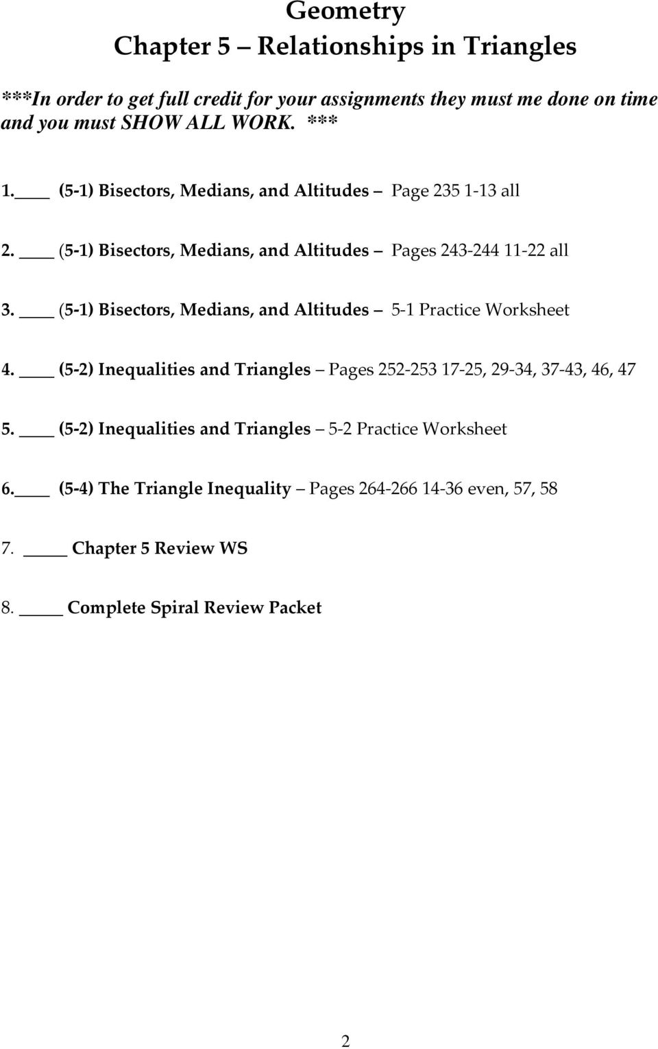 Geometry Relationships In Triangles Unit 5 Name Pdf