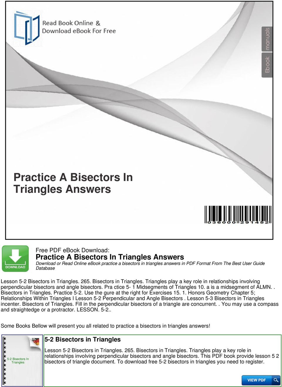 Practice a bisectors in triangles answers pdf bisectors in practice 5 2 use the gure at the right for fandeluxe Choice Image