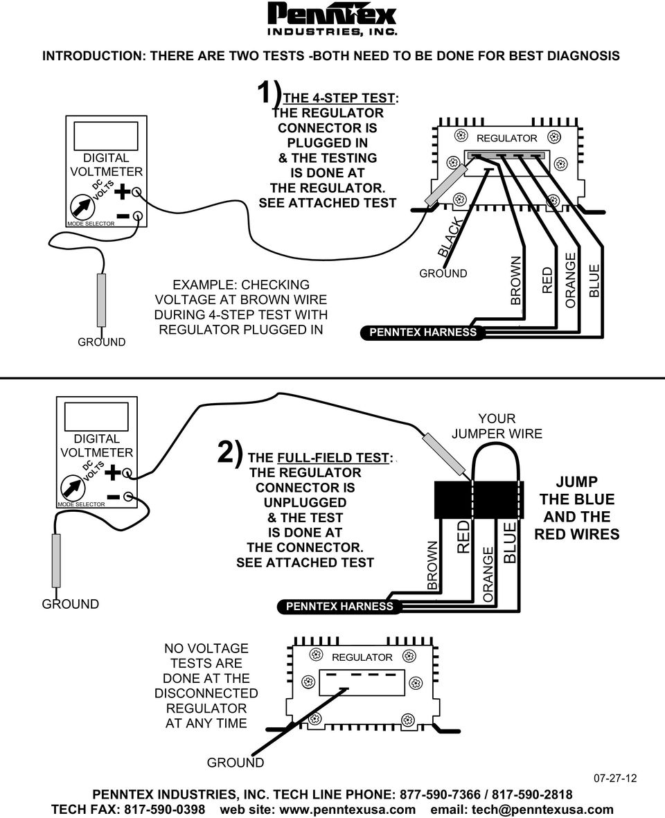 Penntex Four Step Charging System Test And General Information For Kwik Wire Ford Alt Diagram 4 7 6 2