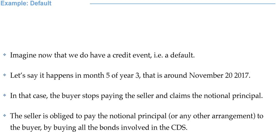 ! In that case, the buyer stops paying the seller and claims the notional principal.