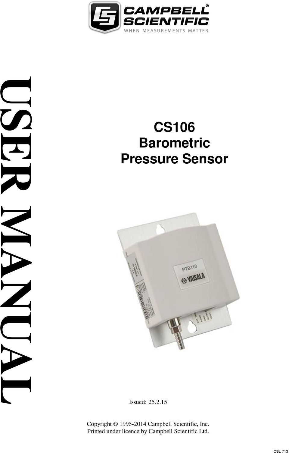 User Manual Cs106 Barometric Pressure Sensor Issued Pdf Barometer Signal Conditioner Transcription