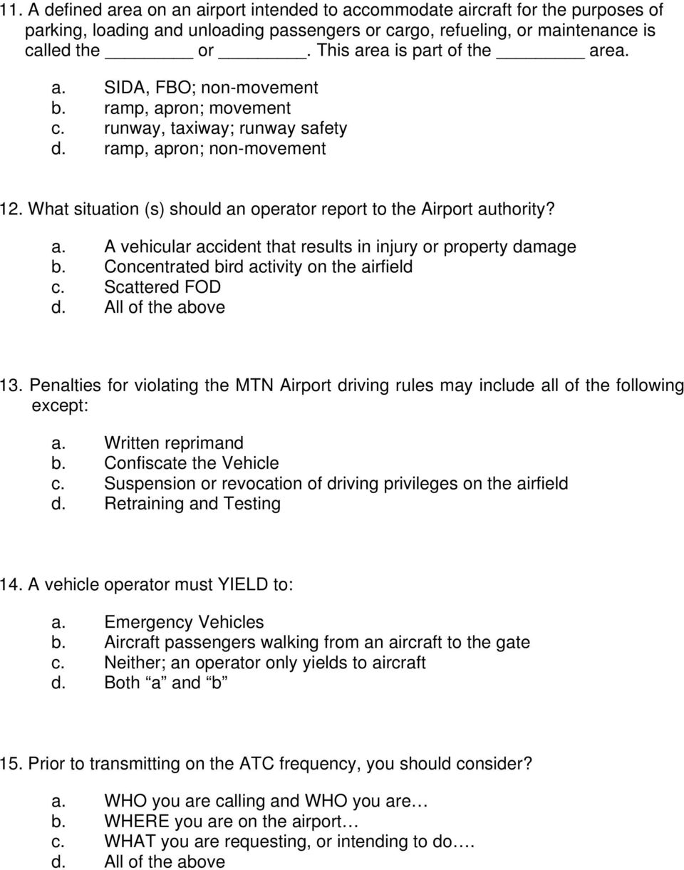 airfield driving test pdf