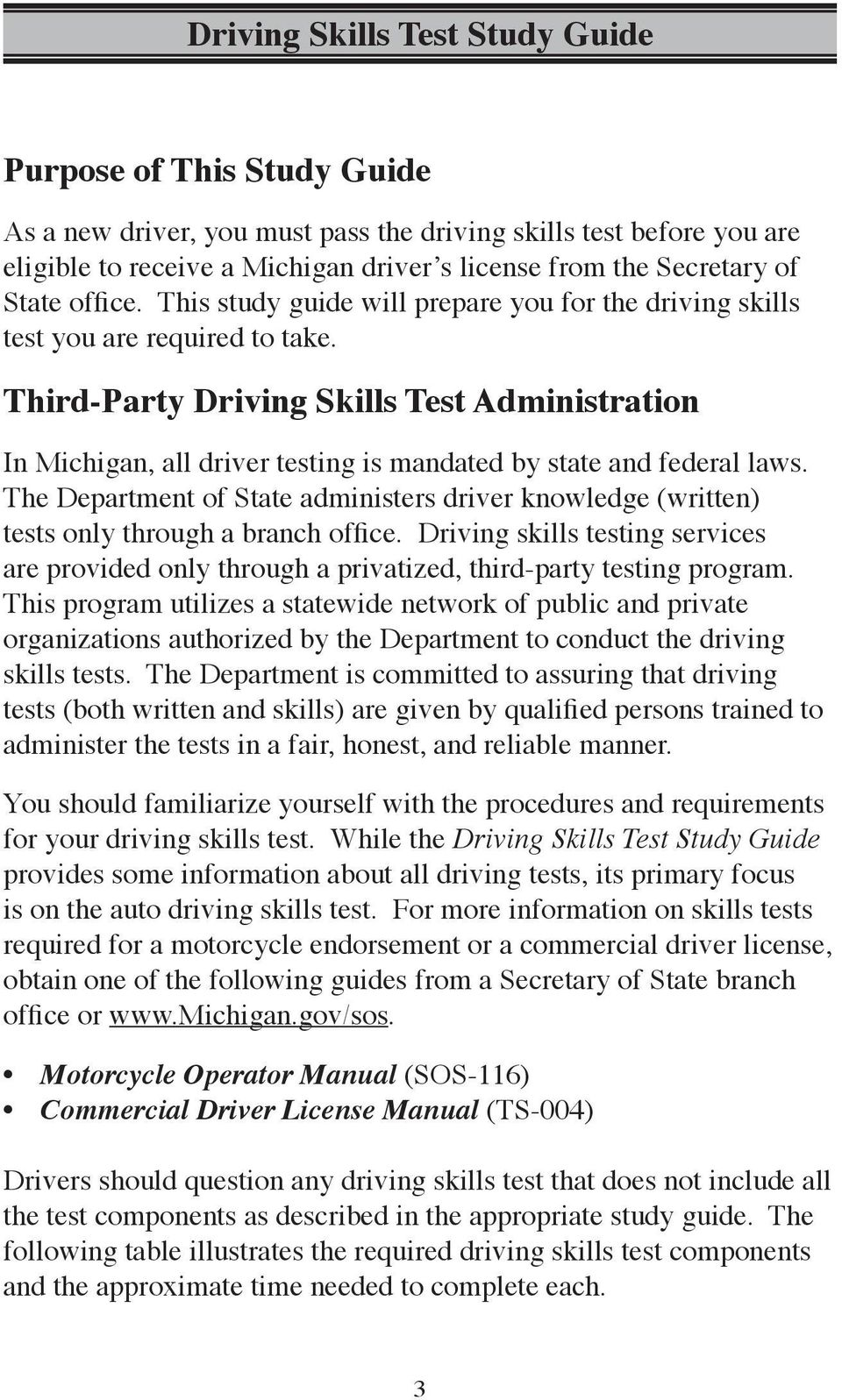 Third-Party Driving Skills Test Administration In Michigan, all driver  testing is mandated by