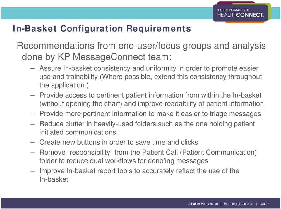 In-Basket Enhancements Kaiser Permanente Mid-Atlantic States - PDF