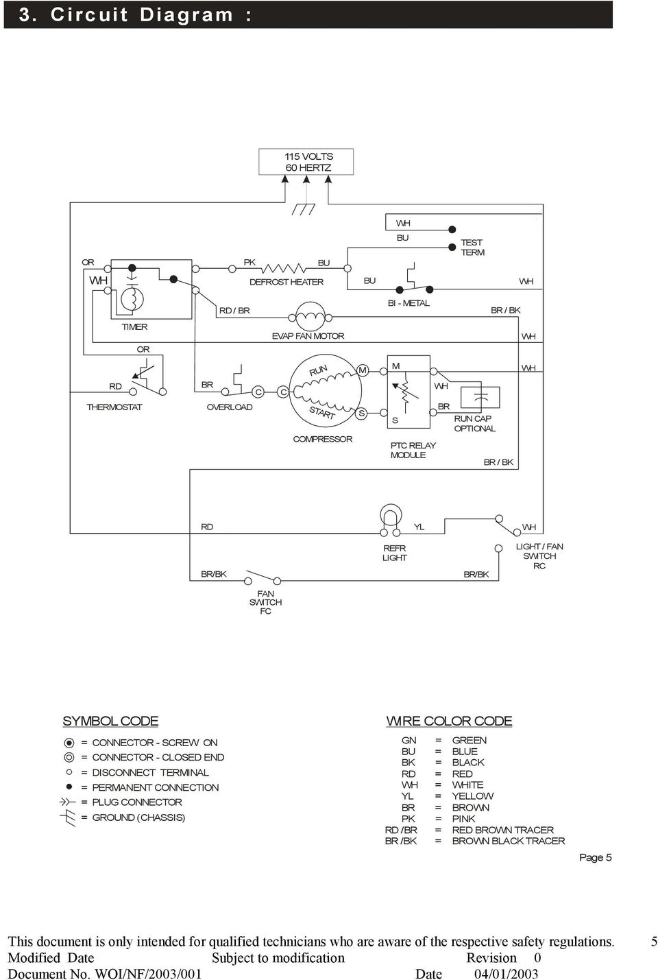Service And Parts Manual Global No Frost Double Door Refrigerator Wiring Diagram Whirlpool Wtw5200vq2 Switch Rc Fan Fc Symbol Code Connector Screw On Closed