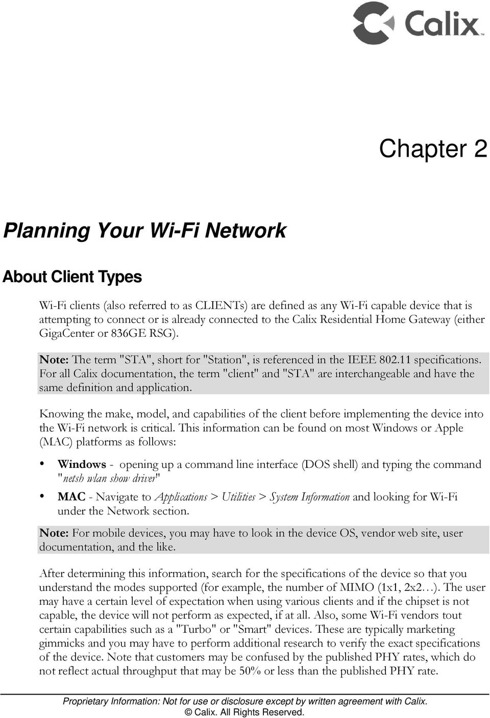Calix Residential Gateway Wi-Fi Best Practices Guide - PDF