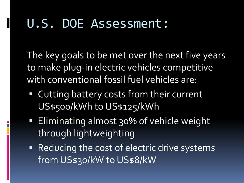 costs from their current US$500/kWh to US$125/kWh Eliminating almost 30% of vehicle