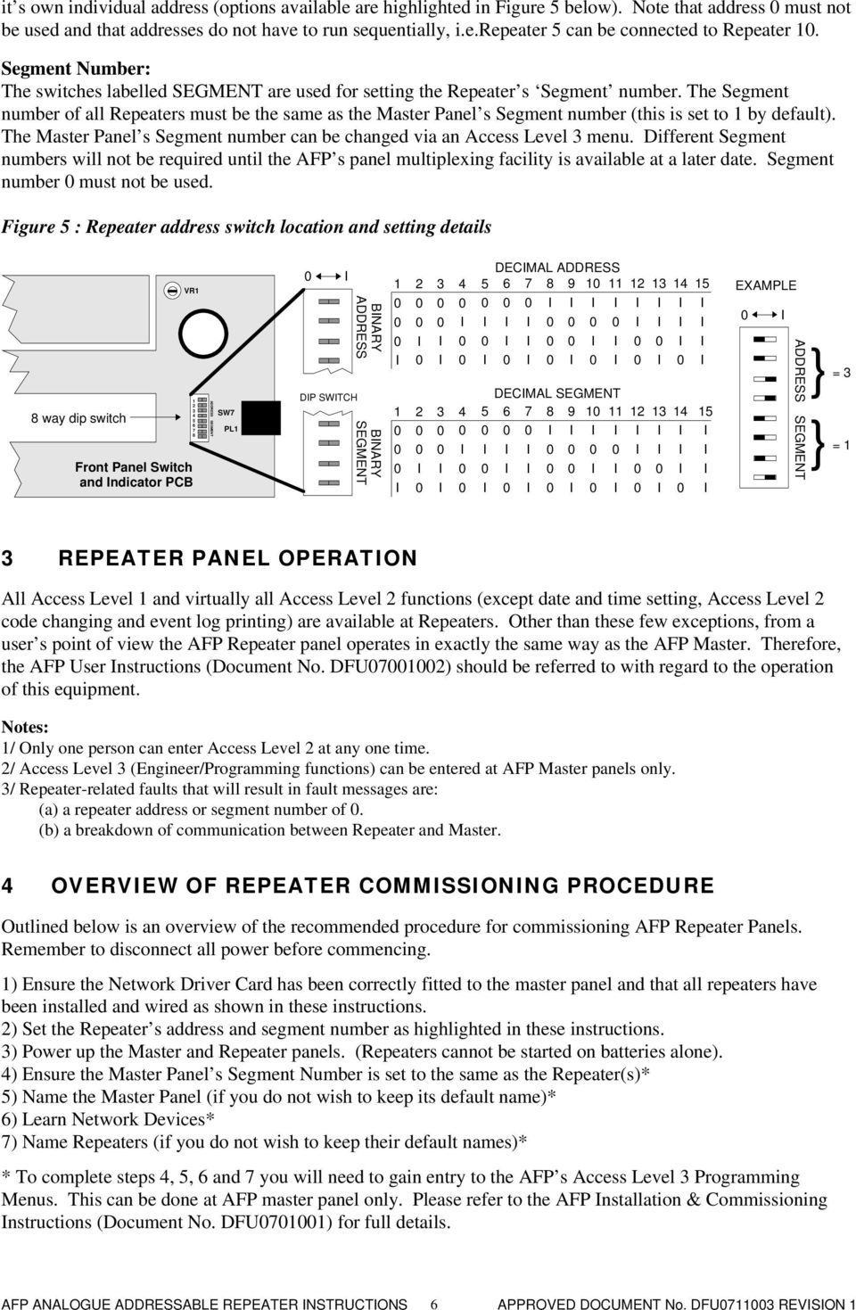 Afp710 Fire Repeater Panel Installation Instructions Pdf Quantec Wiring The Master S Segment Number Can Be Changed Via An Ccess Level 3 Menu