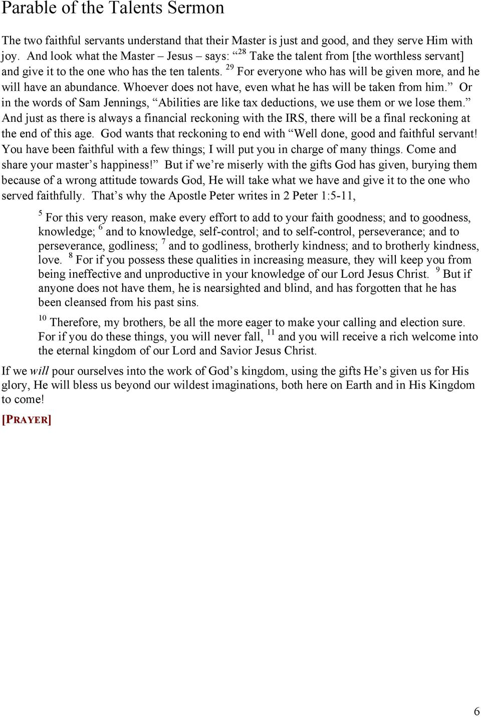 Parable of the Talents Sermon - PDF
